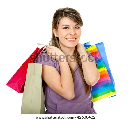 happy woman smiling with shopping bags isolated over white - stock photo