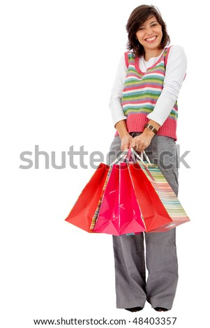 happy woman smiling with shopping isolated over a white background - stock photo