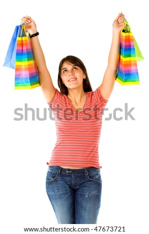 happy woman smiling with shopping over a white background - stock photo