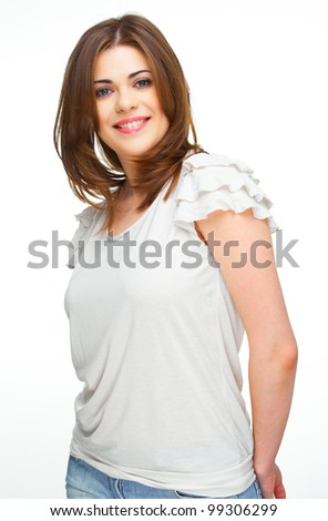 Happy woman standing against white background. Confident model pose with lowered hands - stock photo