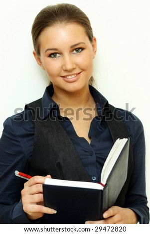 Happy woman studying