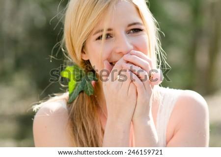 Happy woman surprised - stock photo