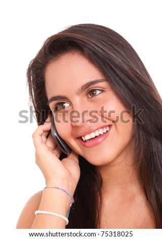 Happy woman talking by cellphone with smile on her face