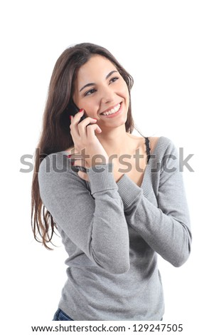 Happy woman talking on mobile phone on a white isolated background - stock photo