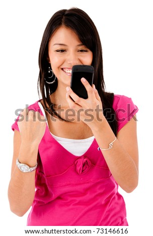 Happy woman text messaging on her mobile ? isolated over white - stock photo