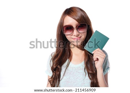 Happy woman tourist travel holding passport isolated on white background, asian - stock photo