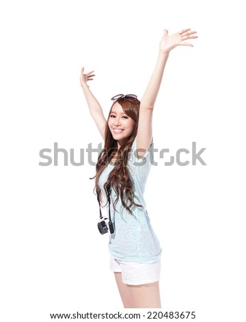 Happy woman tourist travel with camera isolated on white background, asian - stock photo