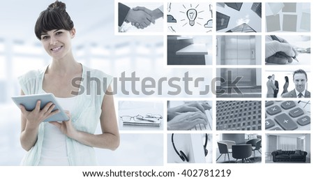 Happy woman using tablet against composite image of closeup of shaking hands over eye glasses and diary - stock photo