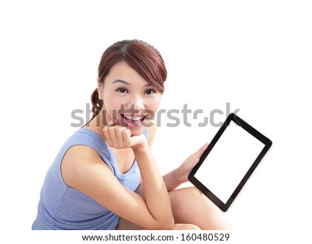 happy woman using tablet pc isolated on white background, empty computer screen is great for your design copy space, asian beauty - stock photo
