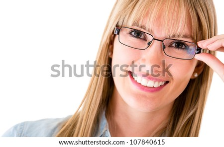 Happy woman wearing eyeglasses - isolated over a white background