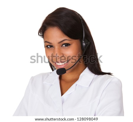 Happy Woman Wearing Headset. Isolated On White - stock photo