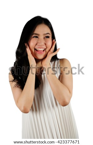 Happy woman wearing white dress looking at camera and white background with clipping path - stock photo