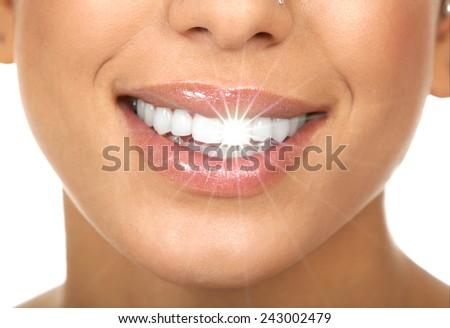 Happy woman white shining teeth. Dental care.  - stock photo