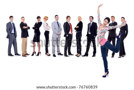happy woman with a business team behind her, isolated - stock photo