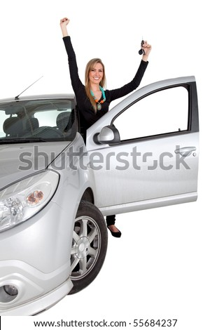 Happy woman with a car holding the keys â?? isolated over a white background - stock photo