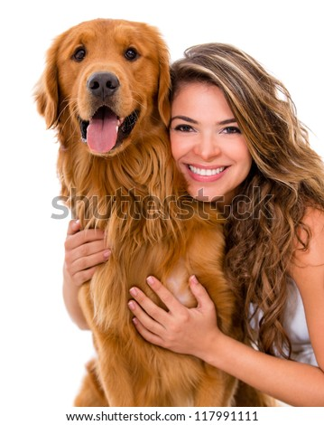 Happy woman with a dog - isolated over a white background - stock photo