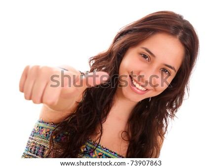 Happy woman with a gesture of positivism in his hand - stock photo
