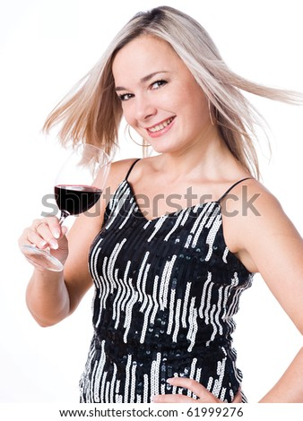 Happy woman with a glass red wine - stock photo