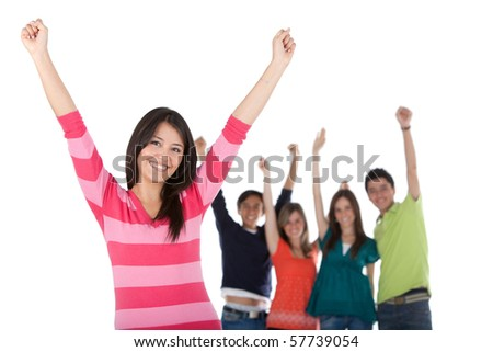 Happy woman with a group and arms up - isolated over a white background - stock photo