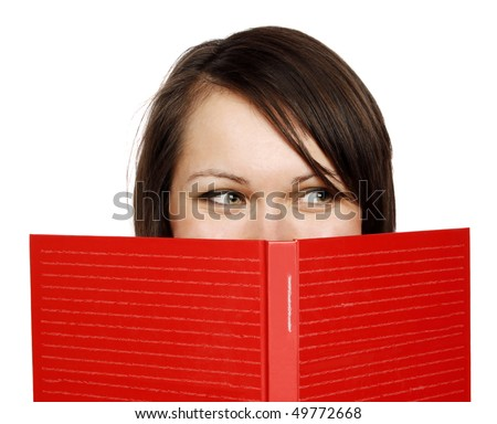 Happy woman with a  red book - stock photo