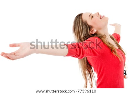 Happy woman with arms open - isolated over white - stock photo
