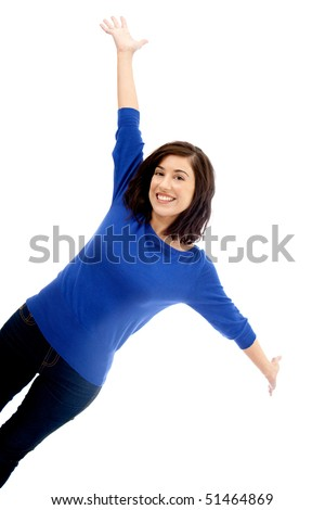 Happy woman with arms up isolated over a white background - stock photo