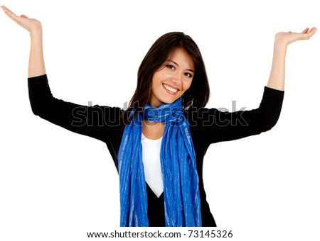 Happy woman with arms up - isolated over white - stock photo