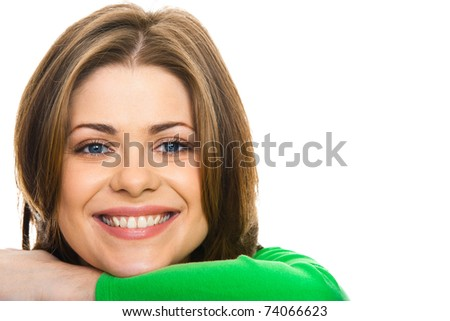 happy woman with  big smile, studio isolated portrait - stock photo
