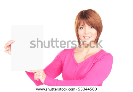 happy woman with blank board over white