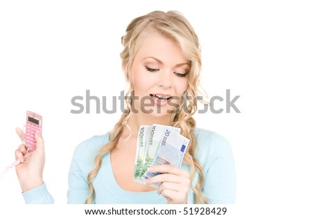 happy woman with calculator and money over white