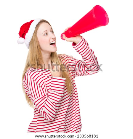 Happy woman with christmas hat and yell with megaphone - stock photo