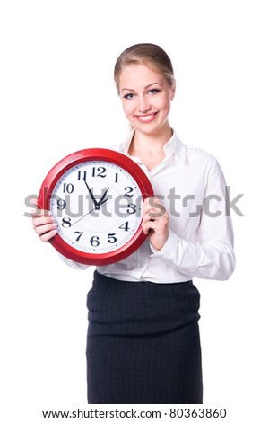 Happy woman with clock over white background - stock photo