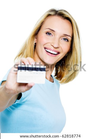 happy woman with credit card on white bacground