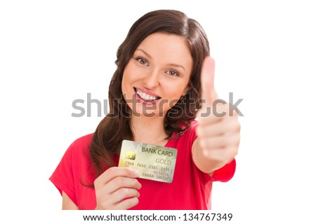 Happy woman with credit card on white background
