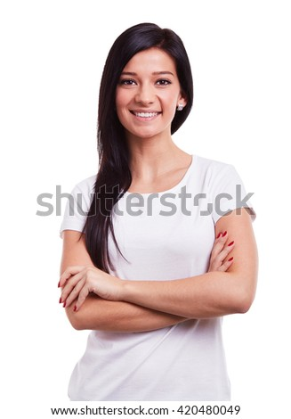 Happy woman with crossed arms on a white background