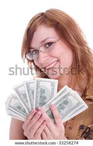 happy woman with dollars isolated on white