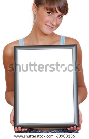 happy woman with empty picture frame isolated on a white - stock photo