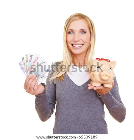 Happy woman with Euro money and piggy bank