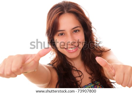 Happy woman with gesture of approval in his hands - stock photo