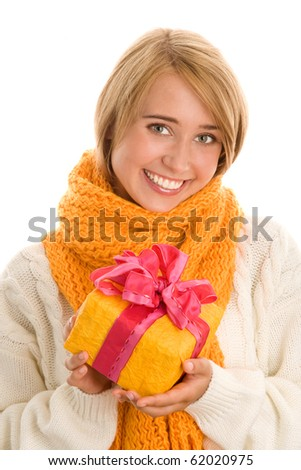 Happy woman with gift - stock photo