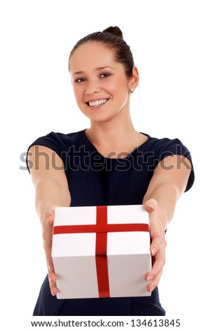 Happy woman with gift box - stock photo