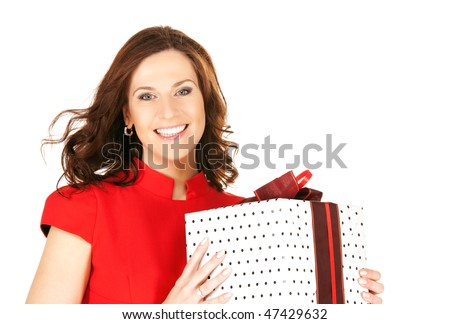 happy woman with gift box over white - stock photo