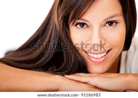 Happy woman with gorgeous long hair - isolated over a white background - stock photo