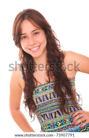 Happy woman with hands on his waist looking at the camera - stock photo