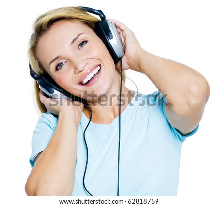 Happy woman with headphones isolated on white background - stock photo