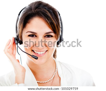 Happy woman with headset and smiling - isolated over a white backgorund - stock photo
