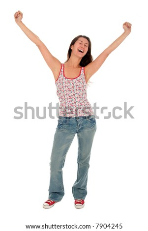 Happy woman with her arms wide open - stock photo