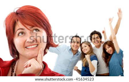 Happy woman with her friends behind isolated on white
