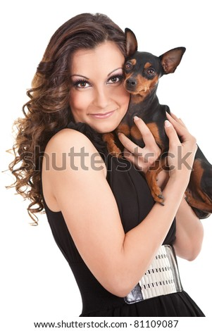 happy woman with her small dog, isolated on white background - stock photo