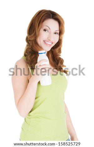 Happy woman with kefir, isolated on white - stock photo